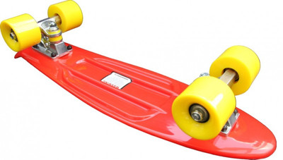 Koston Oldschool Skateboard Plastic Cruiser 70s Style Red/Yellow - 22 x 6.0 inch - Plastik Vinyl Skateboard – Bild 3