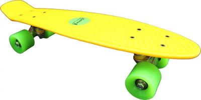 Koston Oldschool Skateboard Plastic Cruiser 70s Style Yellow/Green - 22 x 6.0 inch - Plastik Vinyl Skateboard – Bild 1