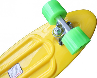 Koston Oldschool Skateboard Plastic Cruiser 70s Style Yellow/Green Medium Size - 27.0 x 7.5 inch - Plastik Vinyl Skateboard – Bild 2