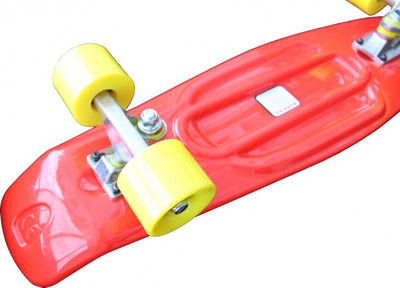 Koston Oldschool Skateboard Plastic Cruiser 70s Style Red/Yellow Medium Size - 27.0 x 7.5 inch - Plastik Vinyl Skateboard – Bild 5