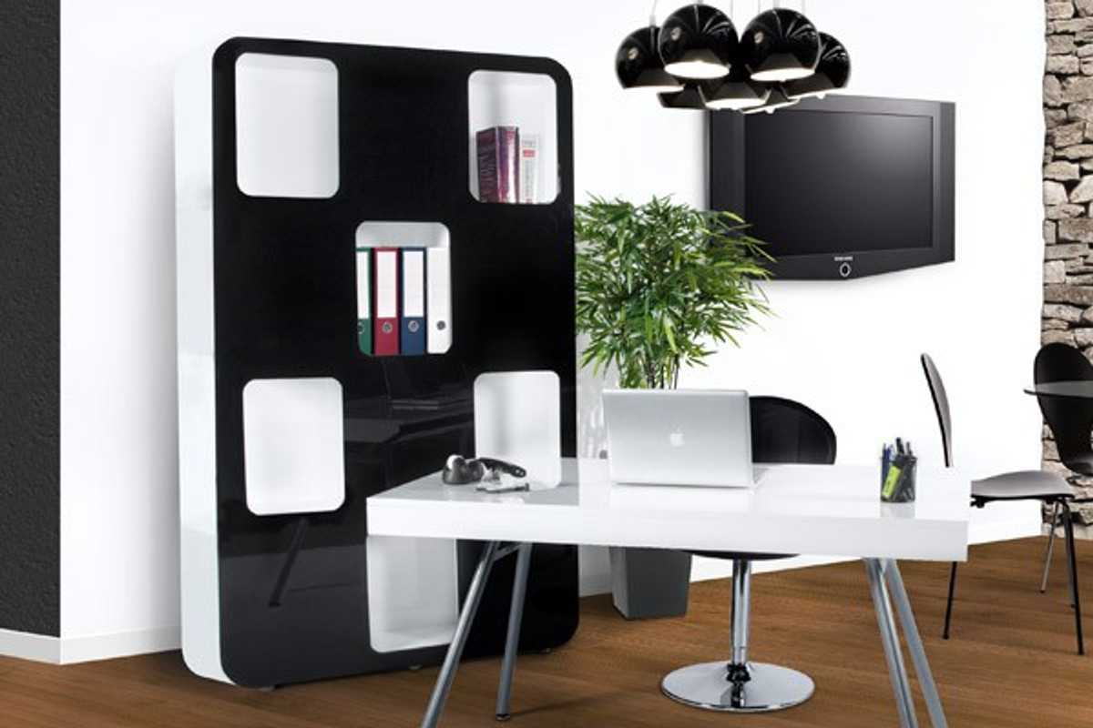 designer b cherregal aus lackiertem holz wei schwarz. Black Bedroom Furniture Sets. Home Design Ideas