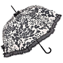 Chantal Thomass Designer Damen Regenschirm in weiß mit schwarzen Leopardenflecken - sehr Elegant - Made in Paris