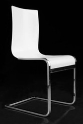 Designer cantilever chair made ​​of wood and chromed steel white dining room chairs, modern living room chair