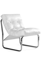 Designer lounge chair, White leather look, very comfortable seat, modern living room chair