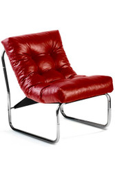 Designer lounge chair, Red leather look, very comfortable seat, modern living room chair
