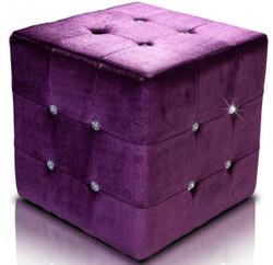 Casa Padrino Stool Purple Dice with bling bling stones - Cube Stool - Stool Designer