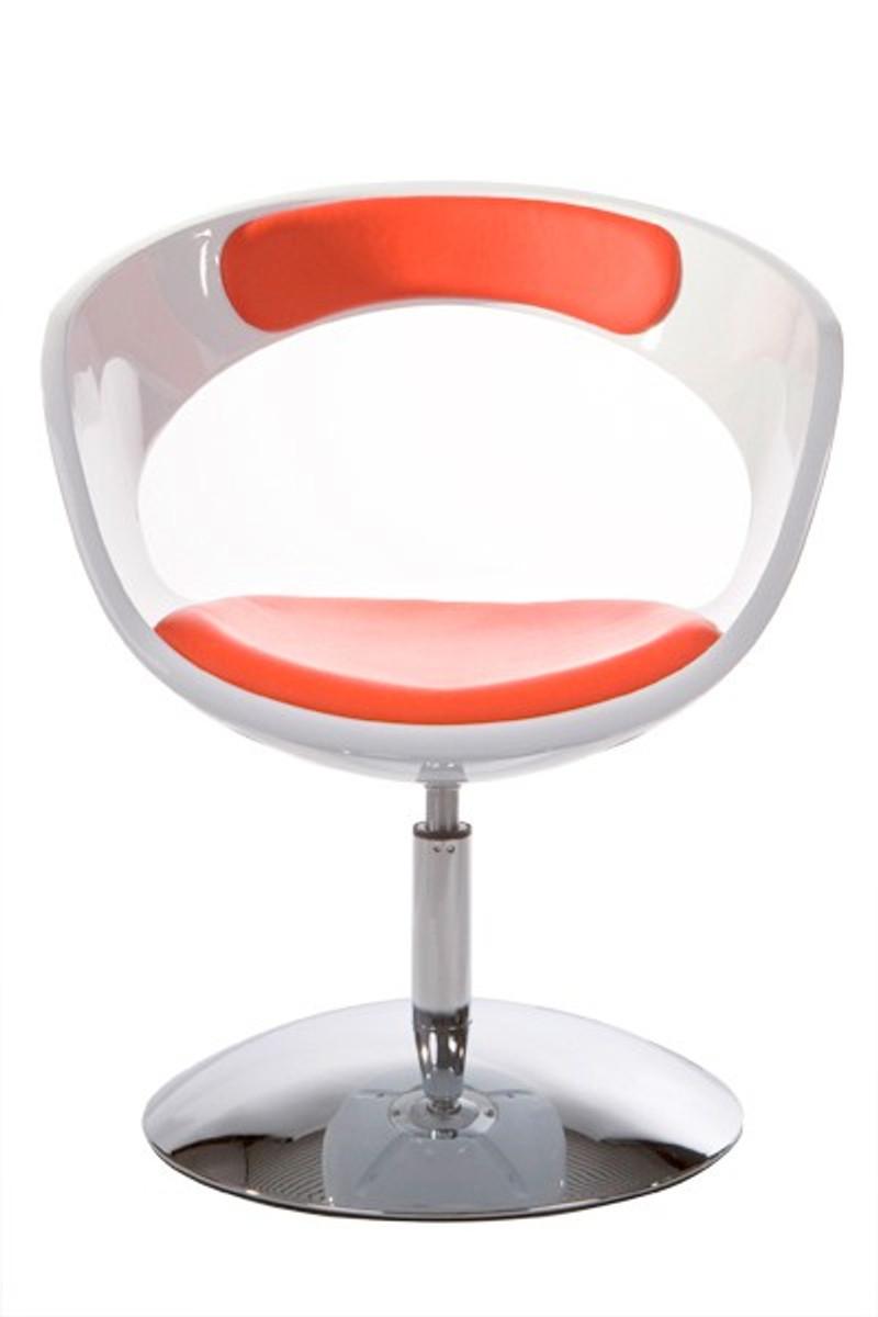 Casa Padrino Designer Stuhl Weiss Rot Drehbar Moderner Stuhl