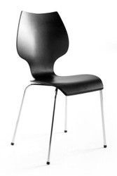 Designer chair made ​​of wood and chromed steel, black, dining room chairs, modern living room chair