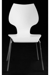 Designer chair made ​​of wood and chromed steel, white, dining room chairs, modern living room chair