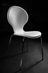 Designer chair made ​​of synthetic leather and chromed steel white, dining room chairs, modern living room chair