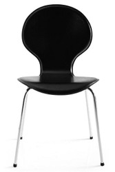 Designer chair made ​​of synthetic leather and chromed steel black, dining room chairs, modern living room chair