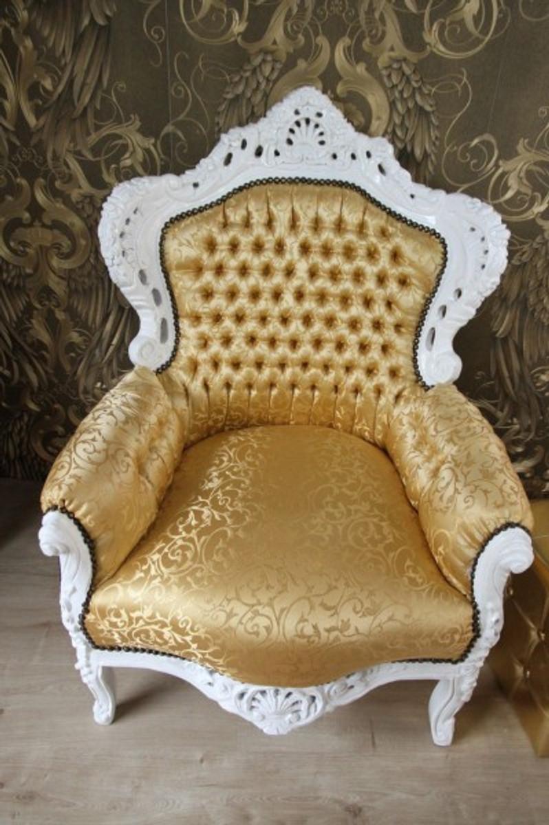 barock sessel king gold muster weiss m bel antik stil. Black Bedroom Furniture Sets. Home Design Ideas
