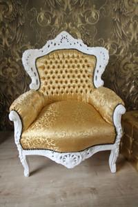 Barock Sessel King Gold Muster / Weiss - Möbel Antik Stil