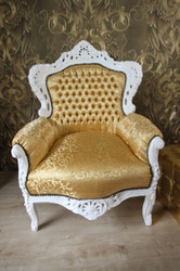Baroque Armchair King Gold Pattern / White - Antique Furniture Style