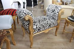 Barock Schemel Hocker Zebra / Gold - Sitzbank