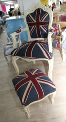 Casa Padrino baroque dining chair with armrests Union Jack / cream + of related ottoman