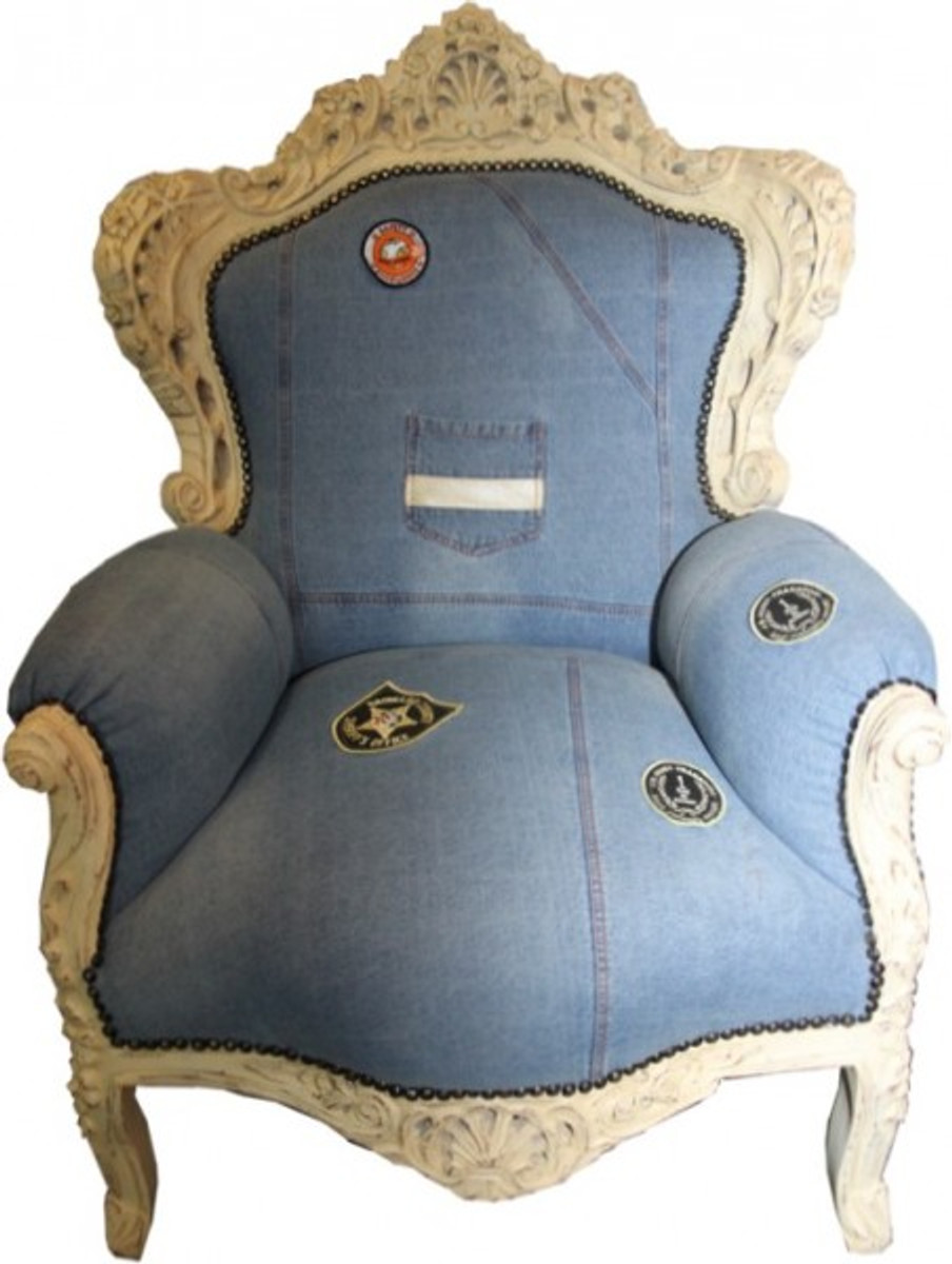 Casa Padrino Barock Sessel King Jeans Style / Antik Creme   Limited Edition  Model