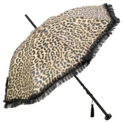 Guy De Jean Designer Ladies umbrella with leopard print and Troddelquaste - Made in Paris
