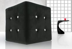 Casa Padrino Stool black Dice with bling bling stones - Cube Stool - Stool Designer