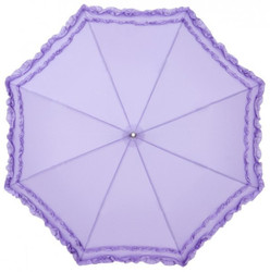 MySchirm designer automatic umbrella with two beautiful lilac ruffle trimmings - Elegant Umbrella - Automatic Umbrella Bild 2
