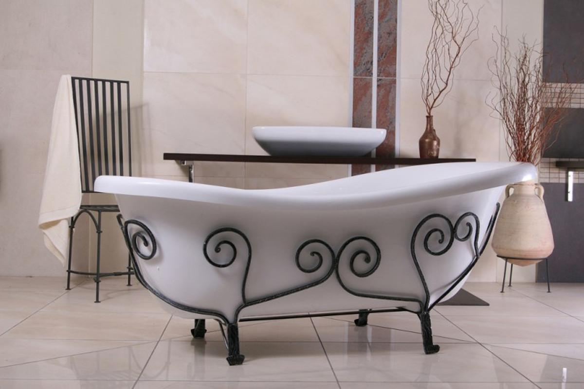 Freistehende Luxus Badewanne Jugendstil Mediterran Weiß/Schmiedeeisen  1690mm - Antik Stil Badezimmer - Retro Antik Badewanne