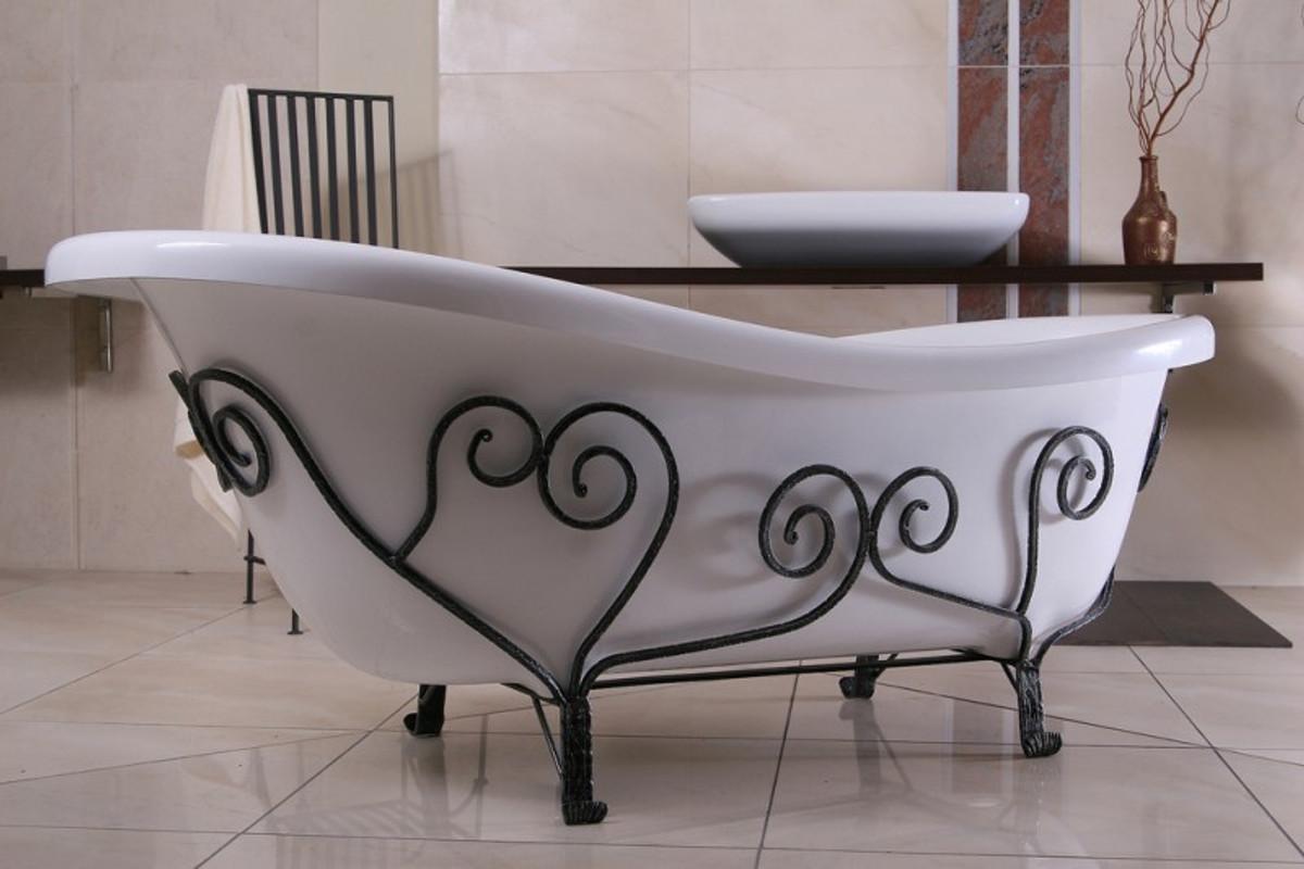 Freistehende Luxus Badewanne Jugendstil Mediterran Weiß