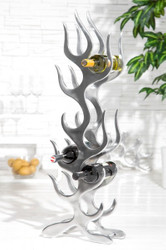 Designer wine rack for 9 bottles of polished aluminum height: 93 cm, width 27 cm, depth: 14 cm - bottle holder, bottle rack