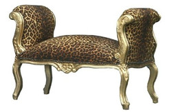 Baroque stool Leopard / Gold - bench