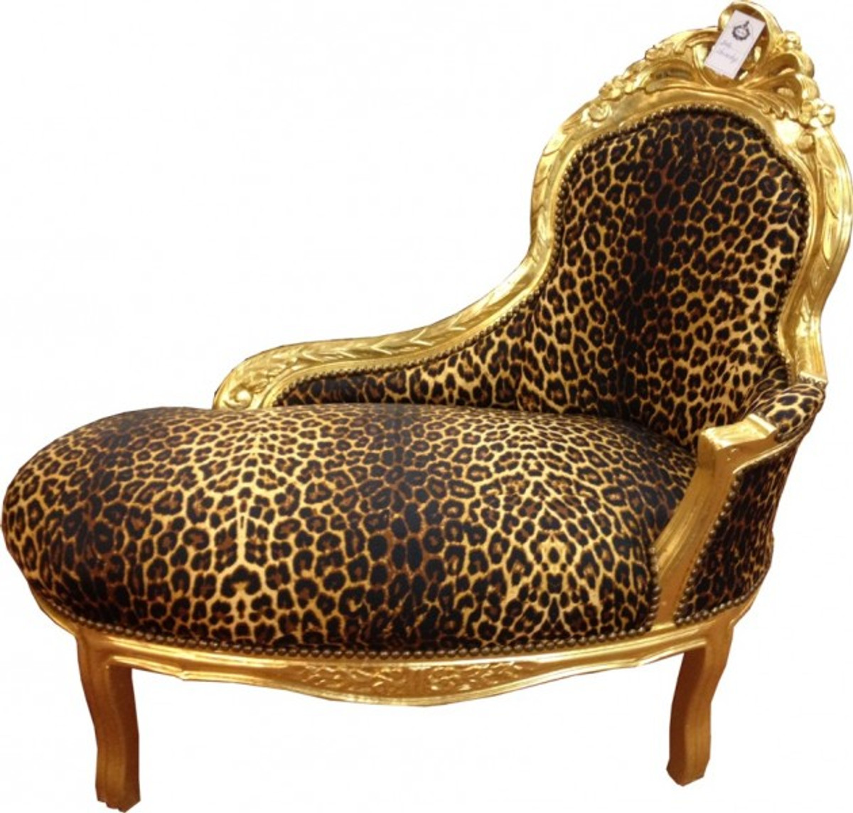 Baroque kids chaise leopard gold baroque furniture - Chaise baroque argentee ...