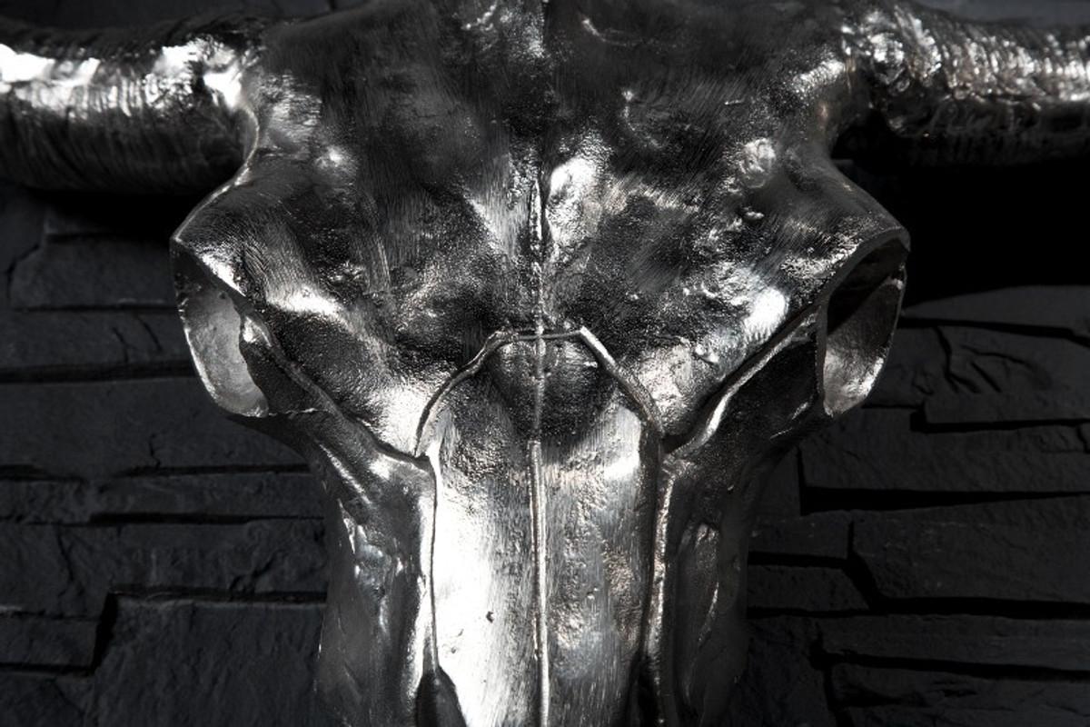 Designer Schädel Matador silber Longhorn Skull H 53 cm, B 63 cm, T 53 cm, edle Skulptur aus Aluminium, Edel & Prunkvoll 3