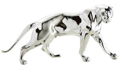 The figure Panther silver height 11 cm, width 26 cm, depth 8 cm, fine sculpture of stone, elegant & luxurious