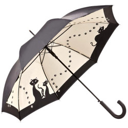 MySchirm designer umbrella with Black Cats in elegant black-Elegant Umbrella - Luxury Design - Automatic Umbrella
