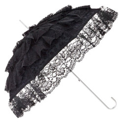 Romantic bridal wedding umbrella umbrella in black with drooping Tüllbahnen of MySchirm.de