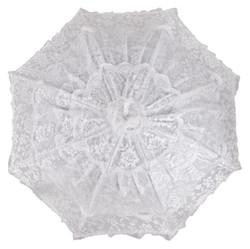 Romantischer Brautschirm Hochzeitsschirm in Weiß mit herabhängenden Tüllbahnen von MySchirm.de Bild 2