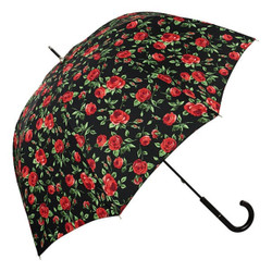 MySchirm designer umbrella with red roses on a black background - Elegant Umbrella