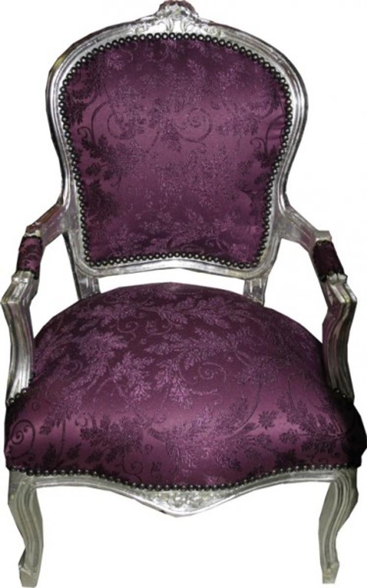 barock salon stuhl lila muster silber antik stil m bel. Black Bedroom Furniture Sets. Home Design Ideas