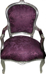 Baroque Salon Chair Purple Pattern / Silver - Antique Furniture Style