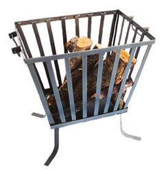 Fire basket made ​​of metal fire bowl rectangular height 4 cm, width 40 cm, depth 29.5 cm - wooden basket