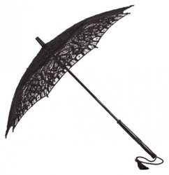 MySchirm designer decorative umbrella wedding umbrella with black cotton lace - romantic Dekoschirm