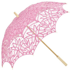 MySchirm Deco designer umbrella wedding umbrella with pink cotton lace - romantic Deco screen