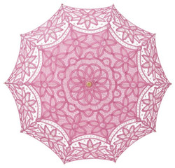 MySchirm Deco designer umbrella wedding umbrella with pink cotton lace - romantic Deco screen Bild 2