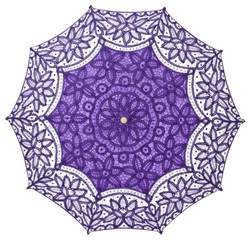 MySchirm Deco designer umbrella wedding umbrella with purple cotton lace - romantic Deco screen Bild 2