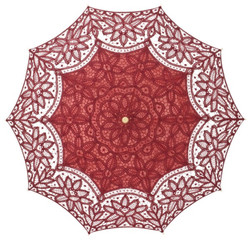 MySchirm Deco designer umbrella wedding umbrella with cotton lace in bordeaux - romantic Deco screen Bild 2