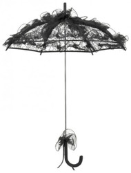 MySchirm designer bridal wedding umbrella delicate shade of black tulle - romantic Deco screen