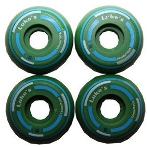 Luke´s Skateboard Profi Wheel Set Green Green 52mm / 100A Super Small (1 Set = 4 Rollen) - Super schmale Rollen - ideal für Street Skateboarding