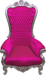 Casa Padrino baroque throne Majestic Pink / Silver - Giant Chair - Throne Chair