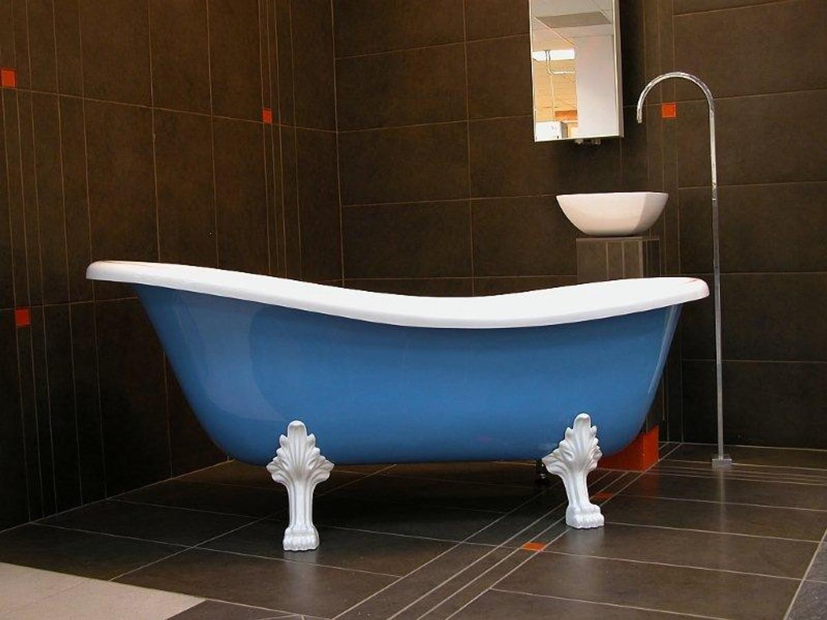 Freistehende Luxus Badewanne Jugendstil Roma Hellblau Weiss Weiss
