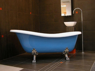 Freistehende Luxus Badewanne Jugendstil Roma Hellblau/Weiß/Chrome ...