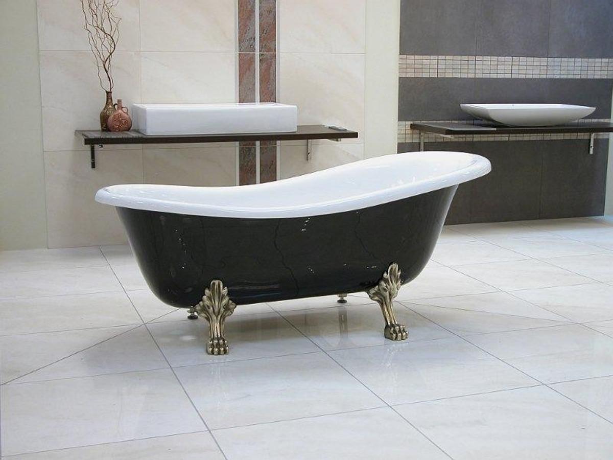 Detached luxury bath Nouveau Roma Black / White / Old Gold 1470mm ...