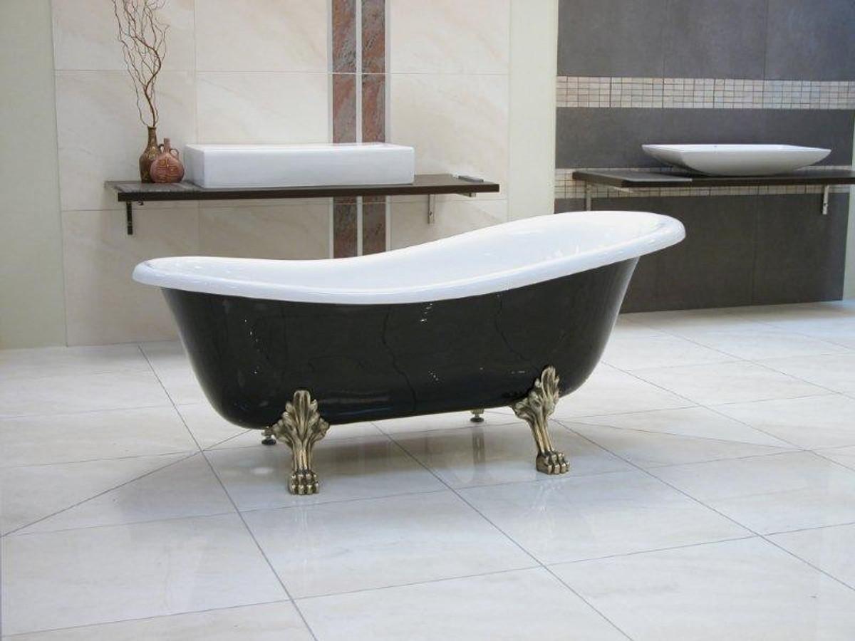 Freistehende Luxus Badewanne Jugendstil Roma Schwarzweißaltgold